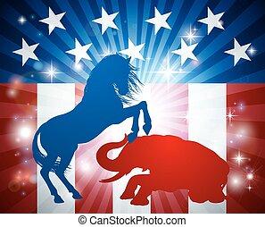 americano, eleição, conceito, democrata, burro, batendo, republicano, elefante
