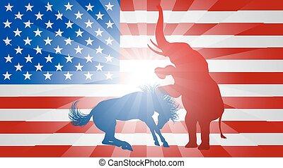 americano, eleição, conceito, elefante, batendo, burro