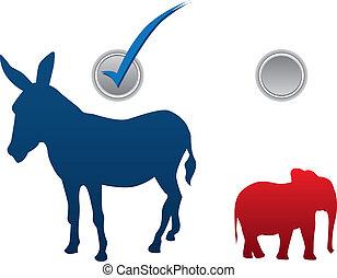 americano, eleição, ilustração