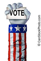 americano, eleição, mão
