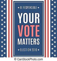 americano, elezione, fondo., 2016