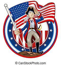 americano, emblema, patriota