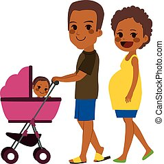 americano, empurrar, par, carrinho criança, africano