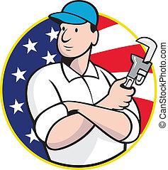 americano, encanador, trabalhador, com, chave ajustável