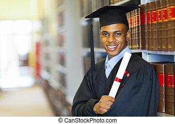 americano, escola lei, africano, graduado