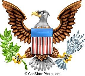 americano, escudo, águia, desenho