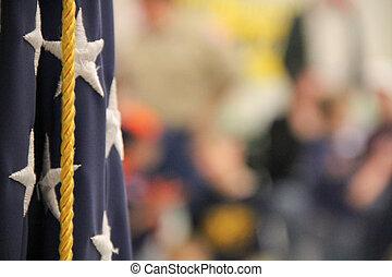 americano, espiar, reunião, bandeira