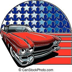 americano, estilo, emblema