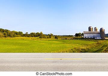 americano, estrada rural, vista lateral