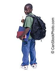 americano, estudante, africano