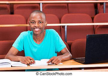 americano, estudante masculino, africano