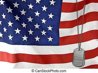 americano, etichette, bandiera, cane
