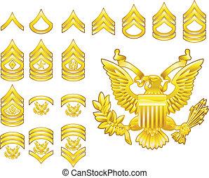 americano, exército, alistado, grau, insignia, ícones