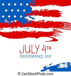 americano, experiência., bandeira, respingo, desenho, dia, independência