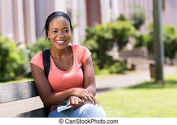 americano, exterior, estudante universitário, africano, campus