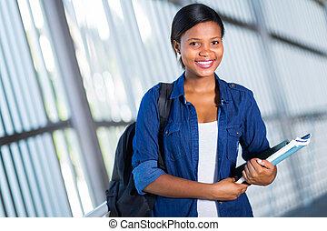 americano, faculdade, aluno feminino, africano