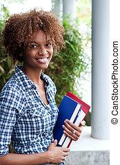 americano, faculdade, bonito, estudante, africano