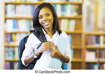 americano, faculdade, jovem, estudante, africano