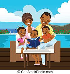 americano, família feliz, africano