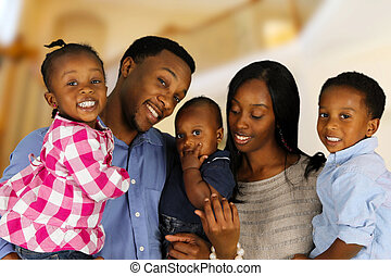 americano, famiglia, africano