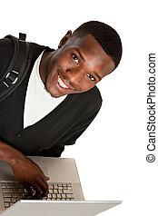 americano, feliz, estudante universitário, africano