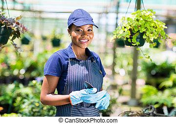 americano, femmina, giardiniere, africano
