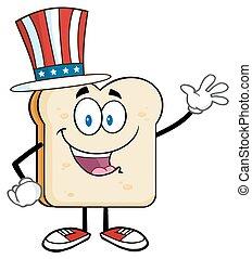 americano, fetta, augurio, bread