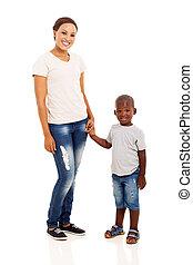 americano, figlio, africano, madre