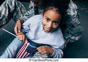 americano, filha, bandeira