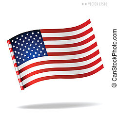 americano, flag., vetorial, illustration.
