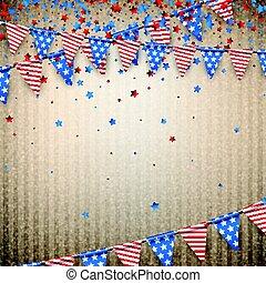 americano, flags., sfondo beige