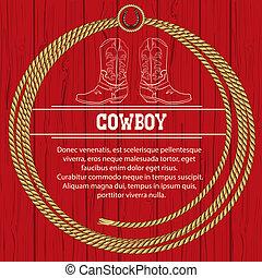 americano, fondo, con, stivali cowboy, e, rope.