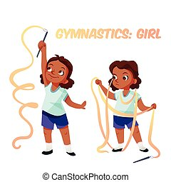 americano, ginástica, menina, africano