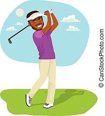 americano, golfer, africano