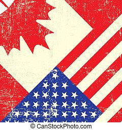 americano, grunge, bandeira, canadense