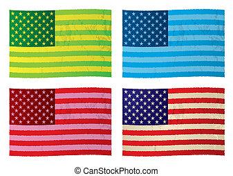 americano, grunge, bandeiras