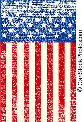 americano, grunge, bandiera