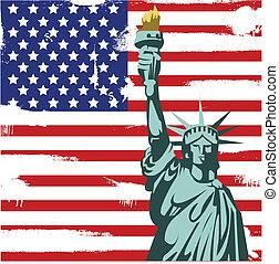 americano, grunge, fundo