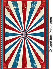 americano, grunge, quadro, circo