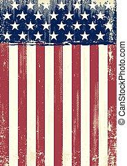 americano, grunge, retro, bandeira