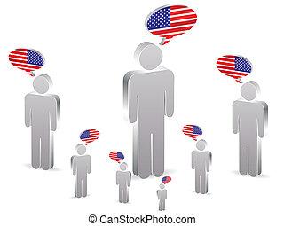 americano, grupo, pessoas