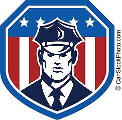 americano, guarda de segurança, bandeira, escudo, retro