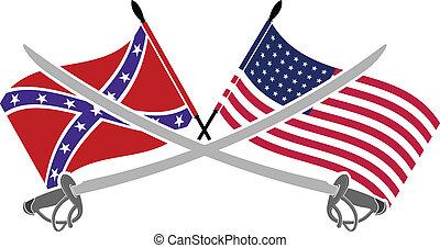 americano, guerra, civile