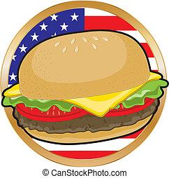 americano, hamburger, bandeira