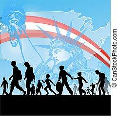 americano, imigração, pessoas