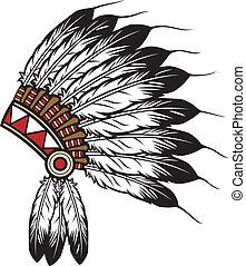 americano, indianas, chefe, nativo