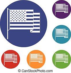 americano, jogo, bandeira, ícones