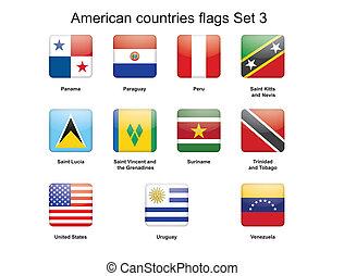 americano, jogo, bandeiras, 3, países