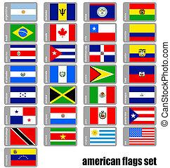 americano, jogo, bandeiras