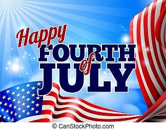 americano, julho, bandeira, fundo, quarto